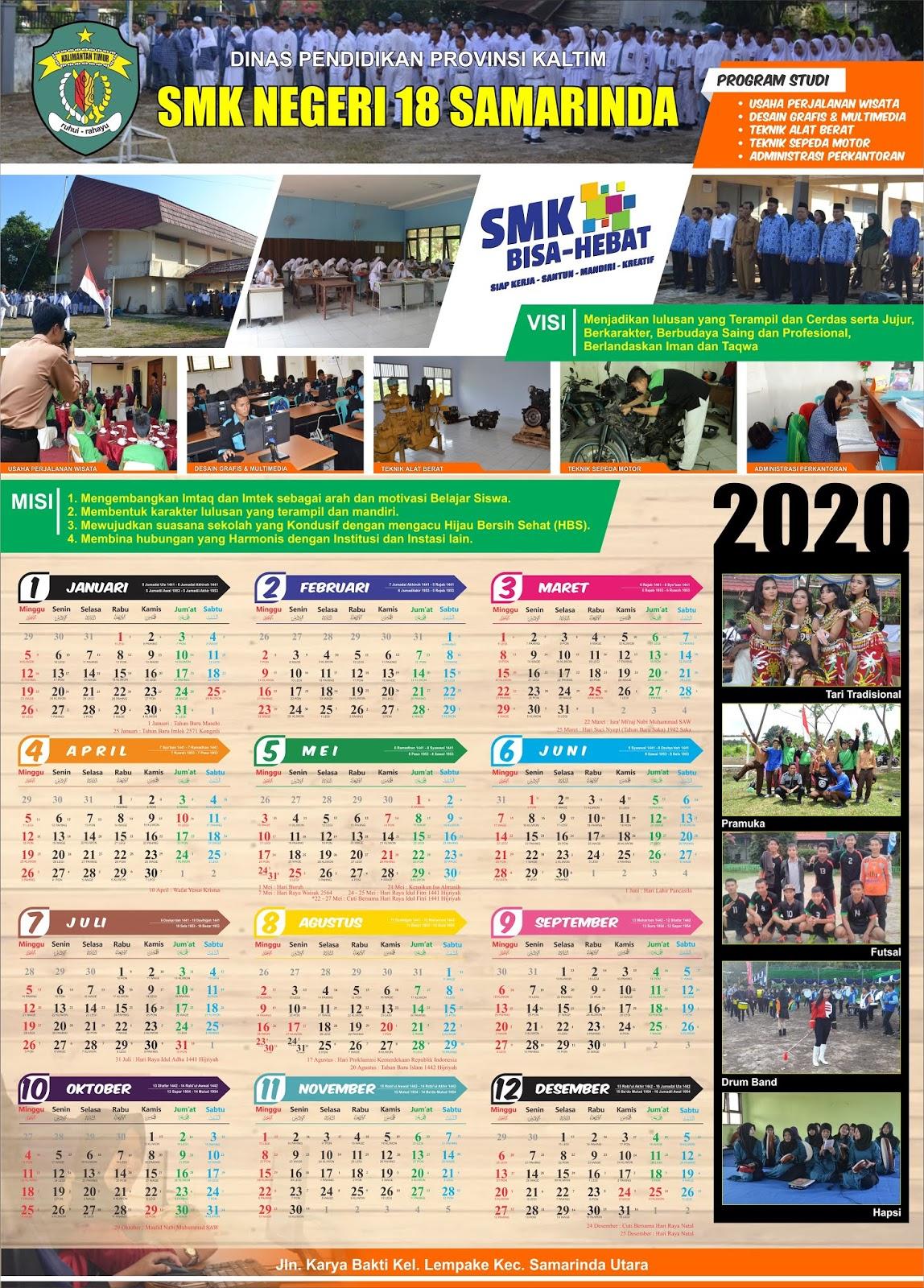 Template Kalender Dinding 2020 Organisasi Format CDR dan ...