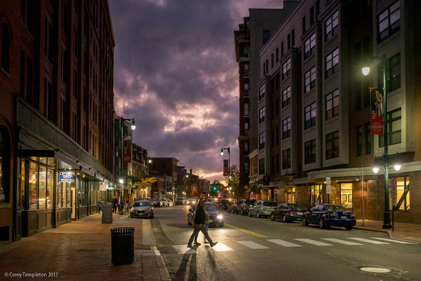 Portland, Maine USA October 2017 photo by Corey Templeton. An interesting sky right before sunset, from Congress Street looking towards Longfellow Square.