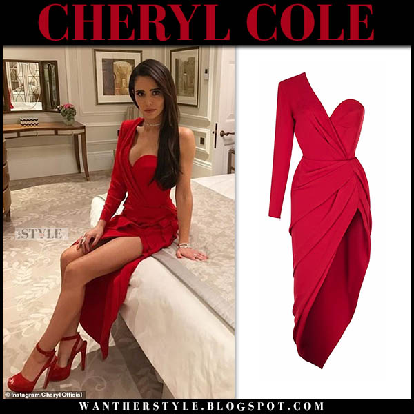 Cheryl Cole in red one shoulder dress ulyana sergeenko and red sandals christian louboutin red carpet style november 13