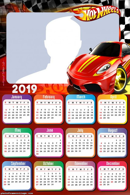 Hot Wheels 2019 Free Printable Calendar.