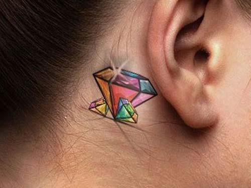 kulak arkası elmas dövmeleri ear back diamond tattoos