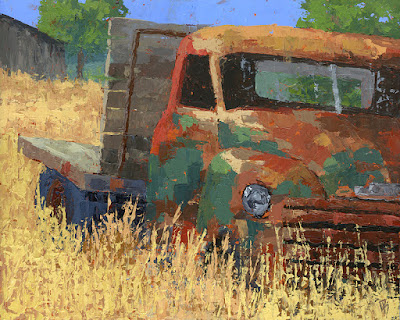 art painting truck flatbed Chevy farm abandoned rusty