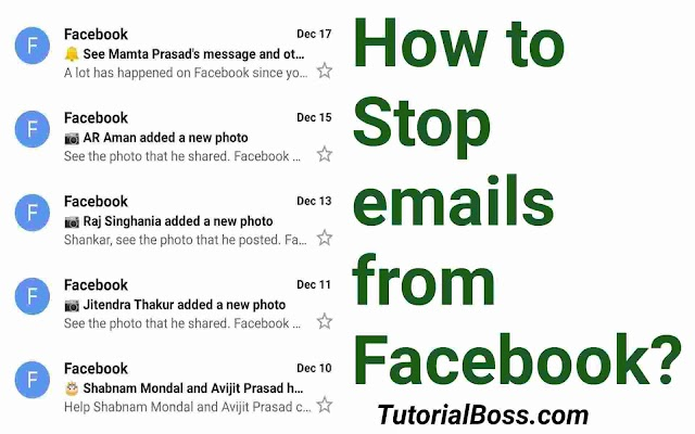 How to Stop emails from Facebook | 4 Steps to follow.
