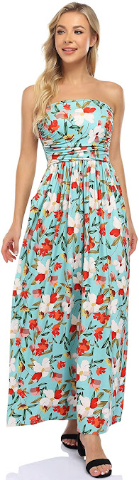 Good Quality Floral Strapless Maxi Dresses