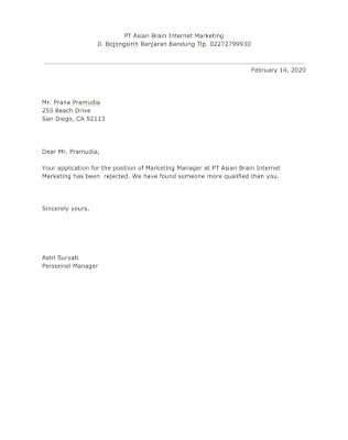 Rejection Letter Sample for Marketing Manager