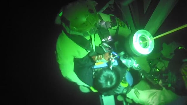 US helicopter crew rescues the man falling into narrow ravines
