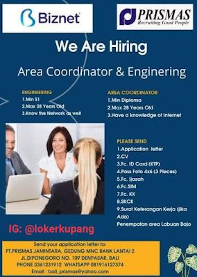 Lowongan Kerja Biznet & Prismas Sebagai Area Coordinator dan Engineering