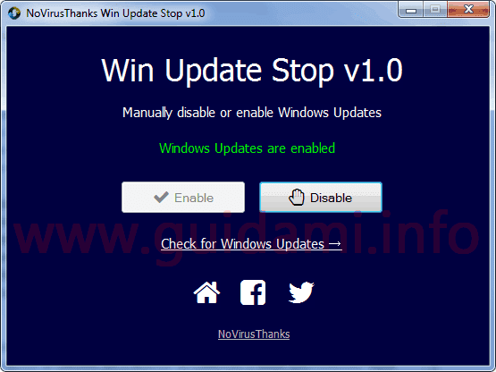 Win Update Stop interfaccia grafica
