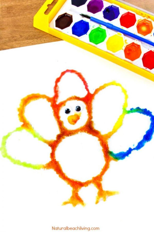 turkey salt painting Thanksgiving craft for kids