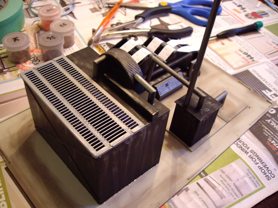 Scratch built machinery made of styrene for interior scene of a Northern Light & Power kit
