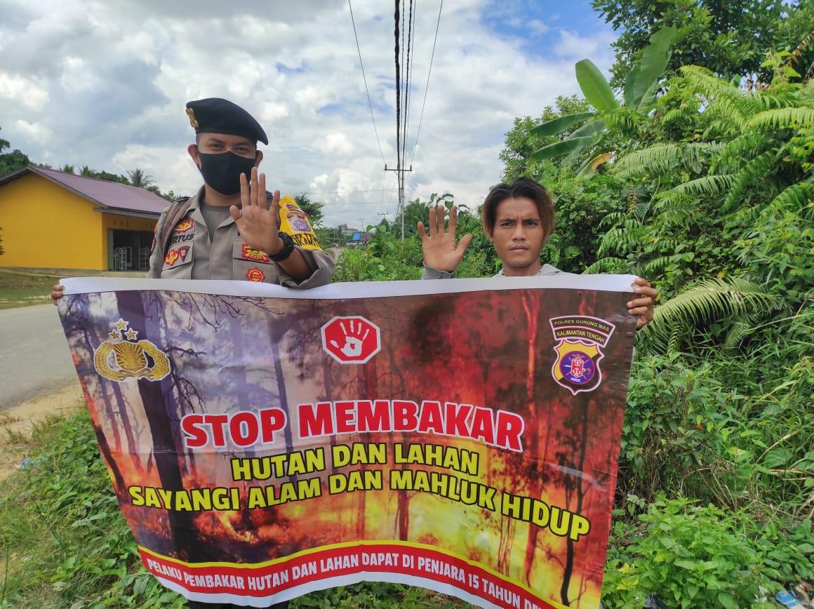 Bhabinkamtibmas Polsek Tewah Sosialisasikan Himbauan Karhutla