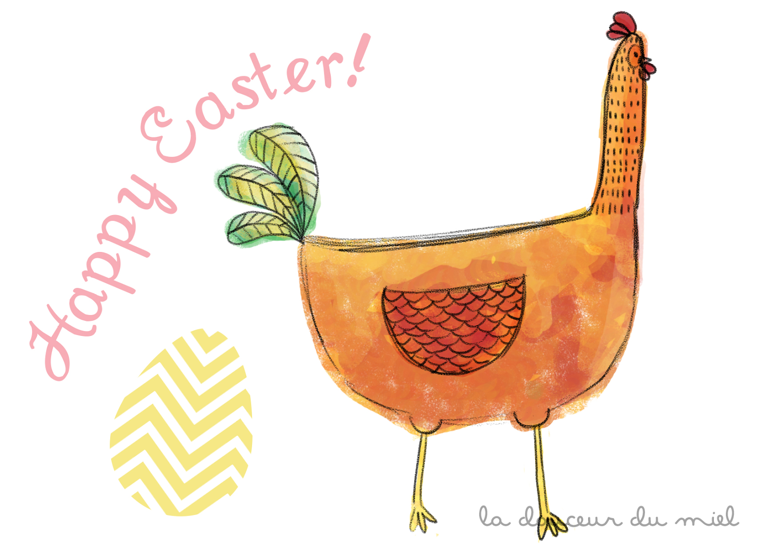 happy easter chicken digital illustration with egg