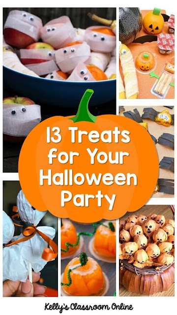 A round up of 13 Halloween party snacks for kids. Ghost lollipops, apple mummies, candy spiders, clementine pumpkins, free printables, and more!