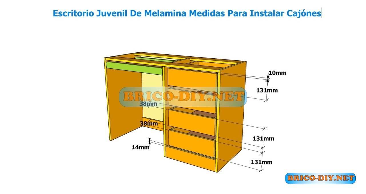 Como hacer un escritorio juvenil planos con medidas para for Medidas para armar un ropero de melamina