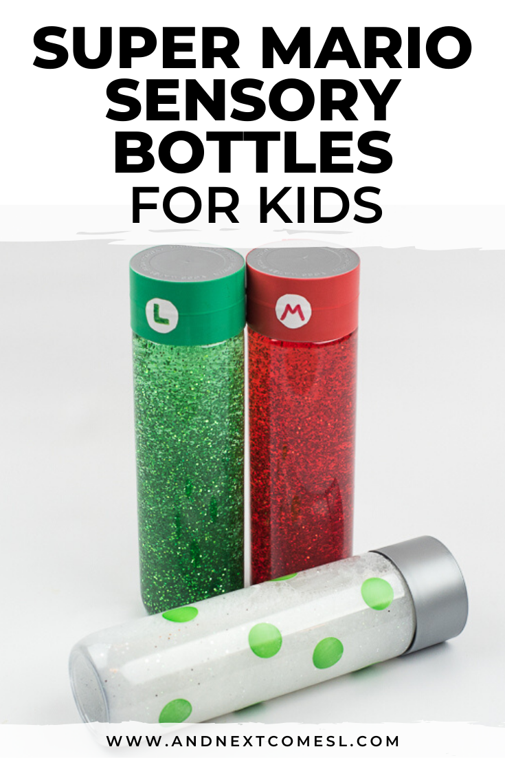 DIY sensory bottles inspired by Super Mario - find out how to make these calming bottles for kids with this easy DIY tutorial