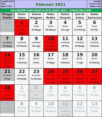 Kalender hari baik februari 2021