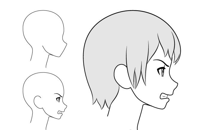 Gadis anime gambar tampilan samping marah