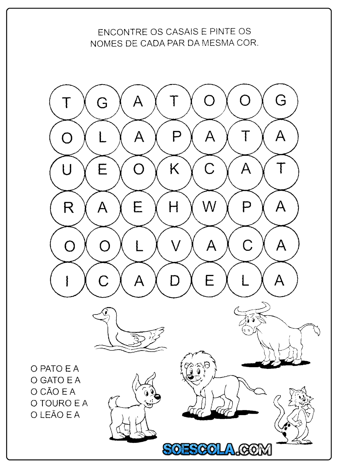 Caca Palavras De Animais Para Imprimir So Escola