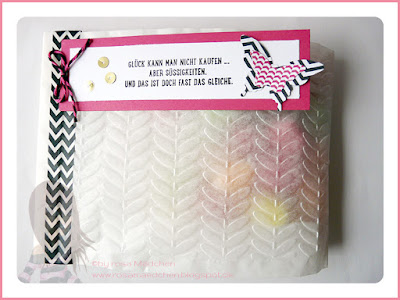 Stampin' Up! rosa Mädchen Kulmbach: Butterbrottüte als Verpackung mit Motivklebeband, Elegantem Schmetterling, Mini Schmetterling und Worte die gut tun