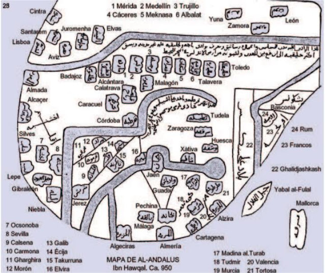 Mapa de Al-Ándalus del geógrafo iraquí Ibn Hawqal (s.X) donde localiza Sevilla, Mérida, León, Murcia, Zaragoza, Mallorca, Lisboa, Toledo, Valencia... y a Barcelona no, sería catalanófobo.