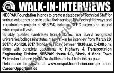 NESPAK Walk-in Interviews