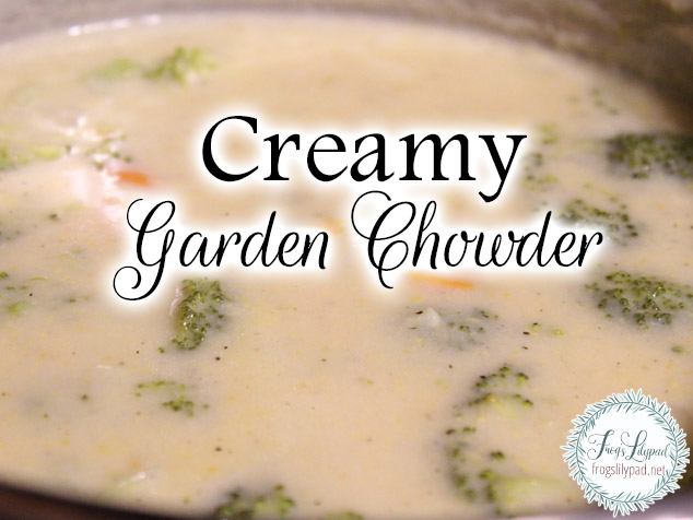 Creamy Garden Chowder. A quick, frugal meal that is sure to please everyone. A recipe that calls for any garden vegetable that suits your tastes and is so good.