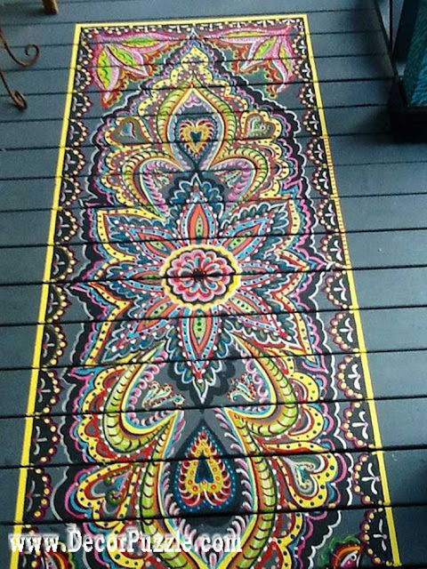 hand-painted floor, creative flooring ideas, floor art and drawing