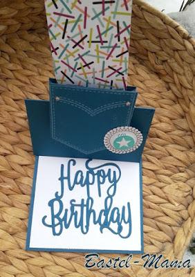 Easel-Karte, SU Stanze Happy Birthdyay, Gutscheinkarte.