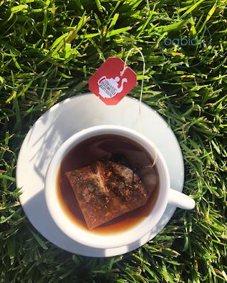 Thé bio en train d'infuser dans une tasse posée dans un jardin du Mas Salagros