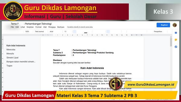 Materi Kelas 3 Tema 7 Subtema 2 PB 3