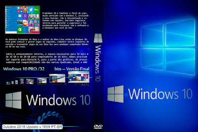 Sistema Operacional Windows 10 Pro x32-Bits Outubro 2018 Update v.1809 PT-BR ISO Oficial Microsoft DVD Capa