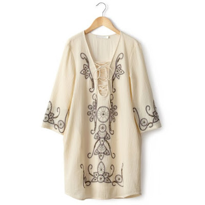 la Redoute Long Sleeved Dress With Embroidery and Studs My Midlife Fashion