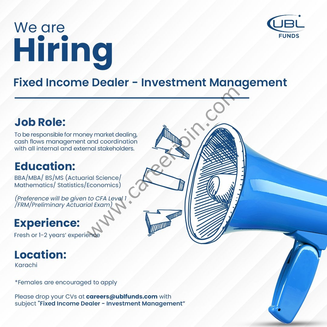 UBL Funds Manager Jobs Fixed Income Dealer Investment Management