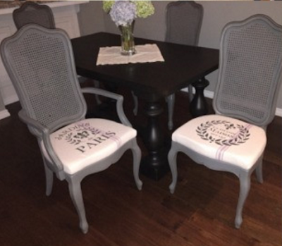Vintage Chairs adorned with stencil designs from ArtisticStencils