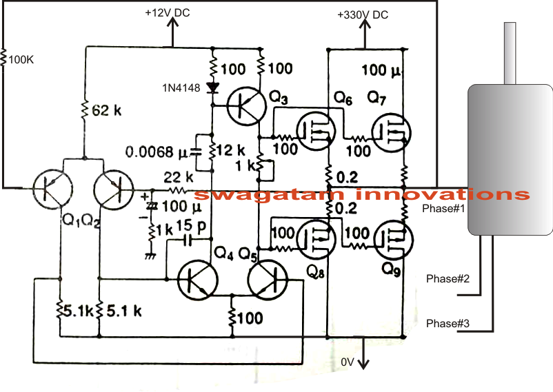 Single phase ac to three phase ac converter circuit for 3 phase motor to single phase