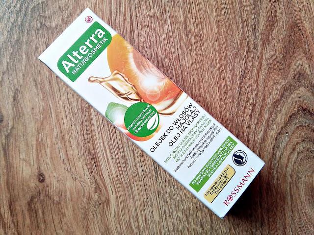 Alterra, Naturkosmetik - Olejek z pestek moreli do włosów suchych i łamliwych, przód opakowania