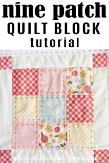 nine patch quilt block with embroidered edges