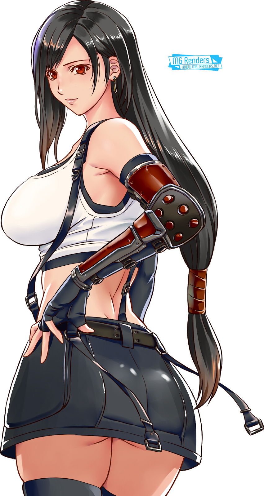 Tags: Anime, Render,  Bare shoulders,  Final Fantasy VII,  From behind,  Gloves,  Skirt,  Tifa Lockhart, PNG, Image, Picture