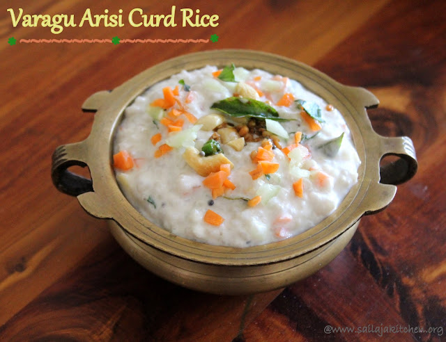 images of Varagu Arisi Curd Rice / Kodo Millet Curd Rice / Varagu Arisi Thayir Sadam / Millet  Bagalabath - Millet Recipes