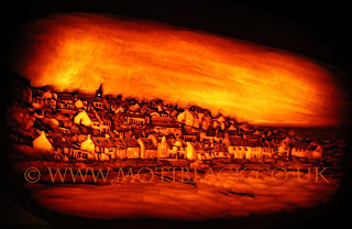 Pittenweem West Shore carved on a pumpkin