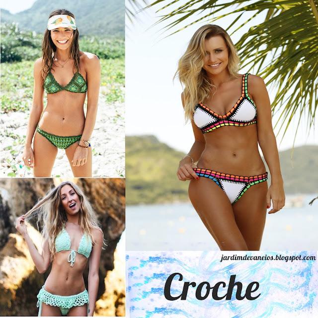 Hits do verão moda praia biquinis croche