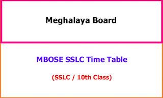 Meghalaya 10th Time Table 2021