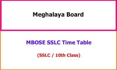 Meghalaya 10th Time Table