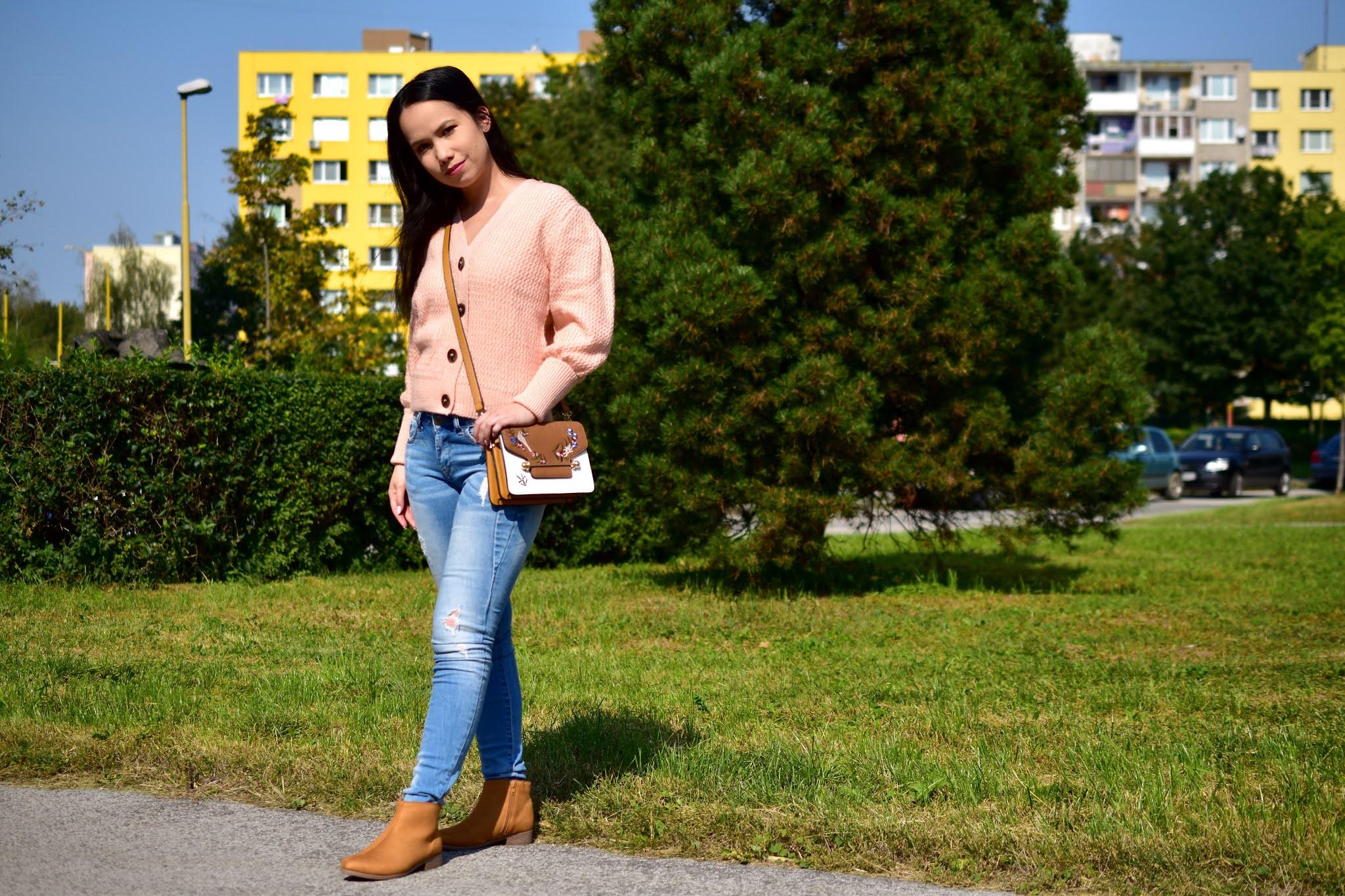 Bonprix outfit ružový sveter