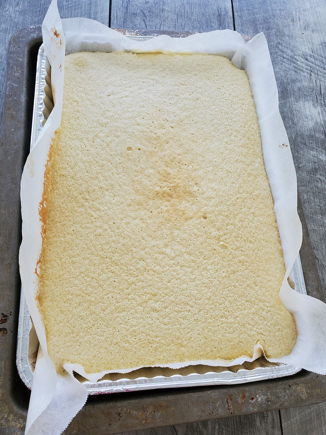 this is a baked sheet pan of vanilla texas sheet cake