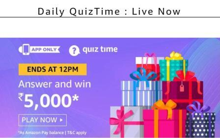 [Live] Amazon Quiz Answer And Win 5000Rs