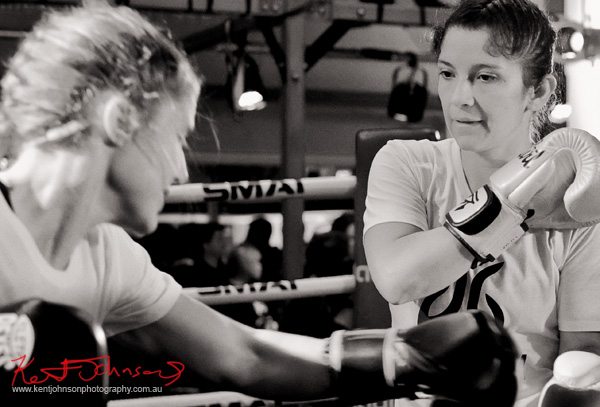 Two women sparing training at Boxing Works Kings Cross for the Jaybird Freedom launch. Photo by Kent Johnson for Street Fashion Sydney.