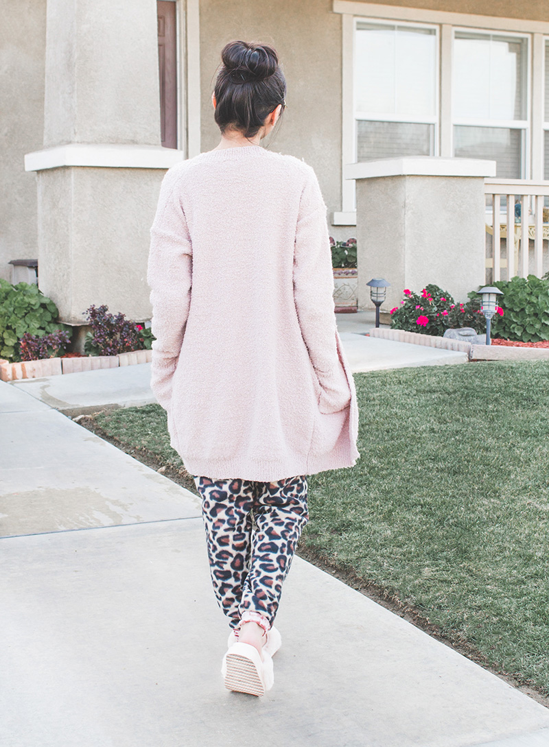 blush cardigan and leopard joggers outfit back
