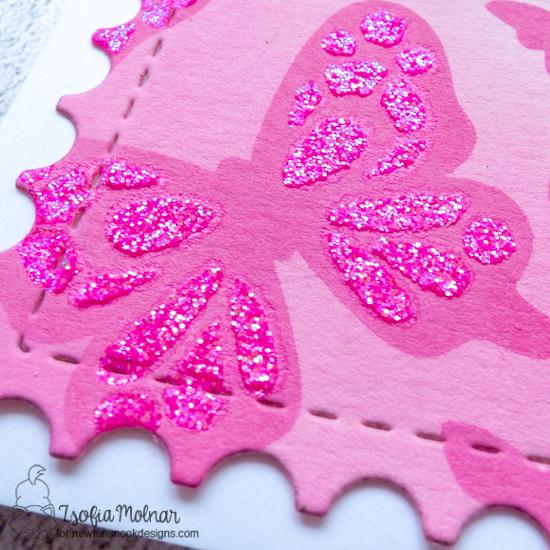 Pretty in Pink Layered Butterflies Card by Zsofia Molnar | Butterflies Stencil Set, Monarchs Stamp Set and Framework die set by Newton's Nook Designs #newtonsnook #handmade