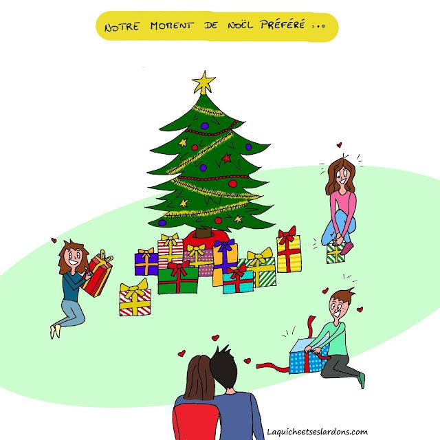Dessin illustration famille Noël cadeaux enfant papa maman sapin bonheur amour